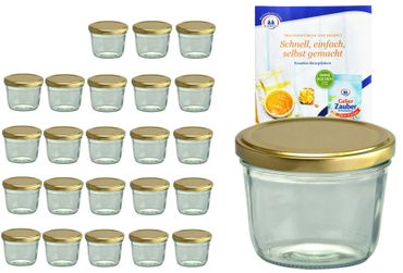 24er Set Sturzglas 230 ml To 82 goldener Deckel incl. Diamant-Zucker Gelierzauber Rezeptheft – Bild 1