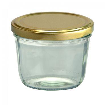 24er Set Sturzglas 230 ml To 82 goldener Deckel incl. Diamant-Zucker Gelierzauber Rezeptheft – Bild 2
