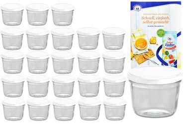 24er Set Sturzglas 230 ml To 82 weißer Deckel incl. Diamant-Zucker Gelierzauber Rezeptheft – Bild 1