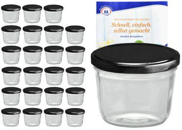 24er Set Sturzglas 230 ml To 82 schwarzer Deckel incl. Diamant-Zucker Gelierzauber Rezeptheft – Bild 1