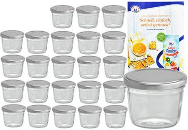 24er Set Sturzglas 230 ml To 82 silberner Deckel incl. Diamant-Zucker Gelierzauber Rezeptheft – Bild 1