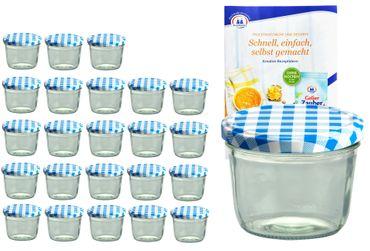 24er Set Sturzglas 230 ml To 82 blau karierter Deckel incl. Diamant-Zucker Gelierzauber Rezeptheft – Bild 1