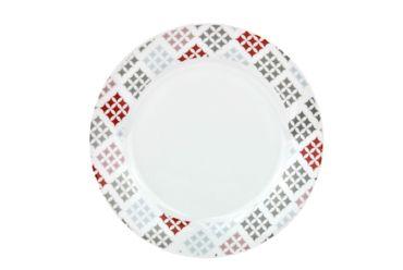 Tafelservice 24tlg. Medina Red Porzellan rund weiß mit Karomuster für 12 Personen – Bild 2
