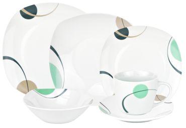 Kombiservice 124tlg. Corona leicht eckig Porzellan für 12 Personen weiß mit Dekor – Bild 1
