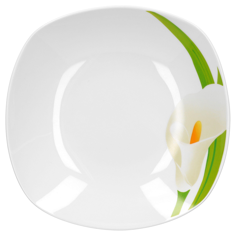 tafelservice calla 24tlg eckig porzellan f r 12 personen wei mit blumendekor porzellan. Black Bedroom Furniture Sets. Home Design Ideas