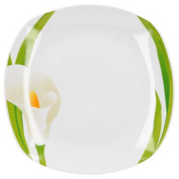 Tafelservice Calla 24tlg. eckig Porzellan für 12 Personen weiß mit Blumendekor – Bild 2