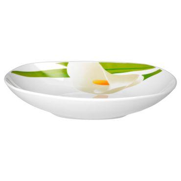 Tafelservice Calla 24tlg. eckig Porzellan für 12 Personen weiß mit Blumendekor – Bild 5