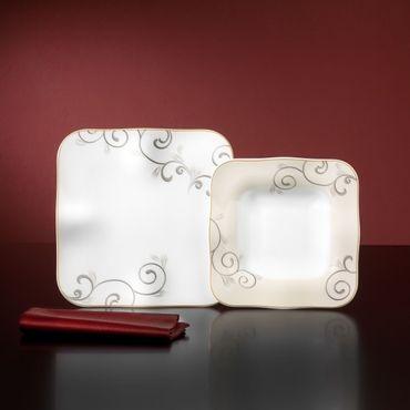 Tafelservice Chateau 12-teilig eckig Porzellan für 6 Personen weiß mit beige-braunen Rankendekor