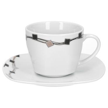 Kombiservice 62tlg. Casetta leicht eckig Porzellan für 6 Personen weiß mit Dekor – Bild 8
