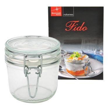 Einmachglas Bügelverschluss Original Fido 0,35L incl. Bormioli Rezeptheft – Bild 1