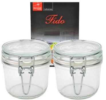 2er Set Einmachglas Bügelverschluss Original Fido 0,35L incl. Bormioli Rezeptheft – Bild 1