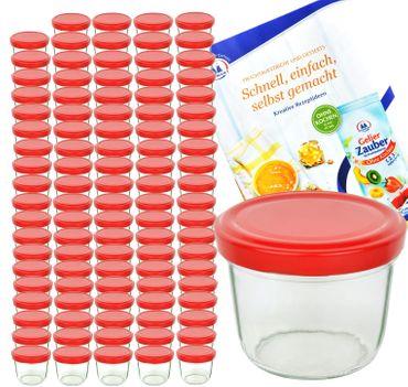 100er Set Sturzglas 230 ml To 82 Piros Deckel incl. Diamant Gelierzauber Rezeptheft – Bild 1