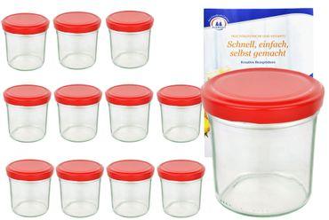 12er Set Sturzglas 350 ml To 82 Piros Deckel incl. Diamant Gelierzauber Rezeptheft – Bild 1