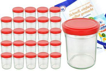 25er Set Sturzglas 435 ml To 82 Piros Deckel incl. Diamant Gelierzauber Rezeptheft – Bild 1