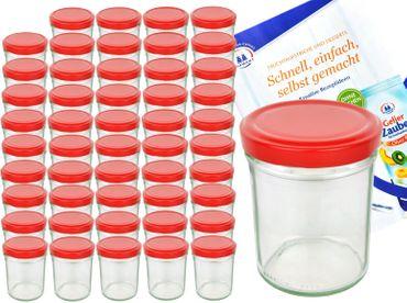 50er Set Sturzglas 435 ml To 82 Piros Deckel incl. Diamant Gelierzauber Rezeptheft – Bild 1