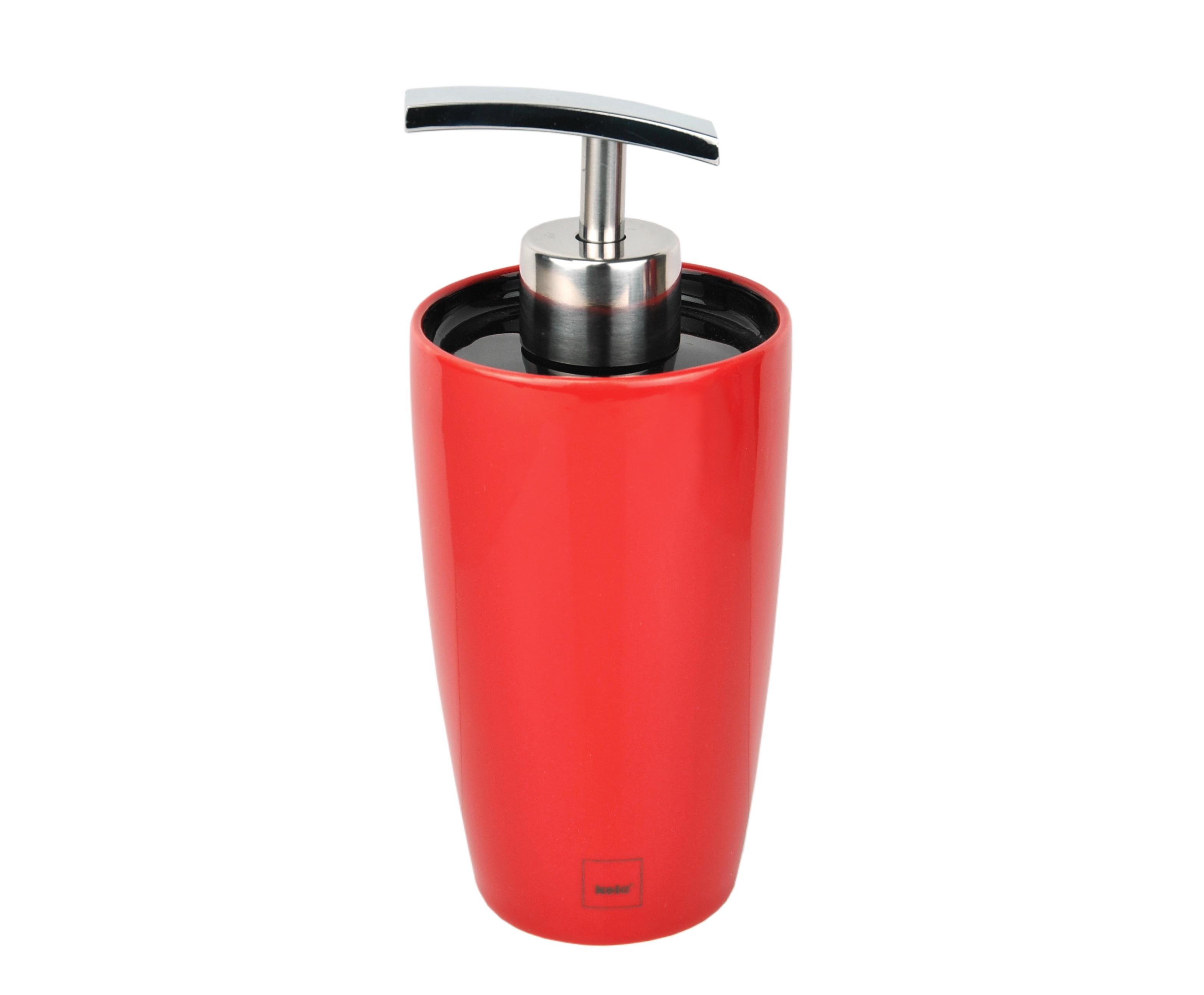 KELA WC Garnitur WC Bürstenhalter aus Keramik Toilettenbürste Rot Edelstahl