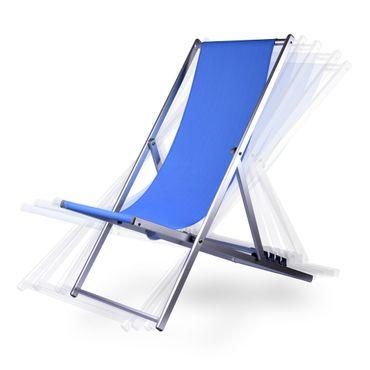 Liegestuhl klappbar, verstellbar, leicht aus Aluminium in blau mit 5 Positionen – Bild 1