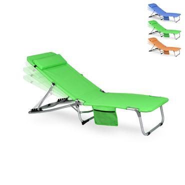 Gartenliege klappbar - Liegestuhl mit Kissen und verstellbarer Lehne in Orange, Grün, Blau - platzsparende Sonnenliege für Garten, Balkon oder Strand – Bild 3
