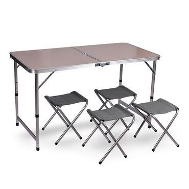 Wubox Campingtisch Klapptisch Set - Gartentisch klappbar und 4 Campingstühle faltbar - Koffertisch mit 4 Sitzhockern für Camping, Outdoor und Garten – Bild 8