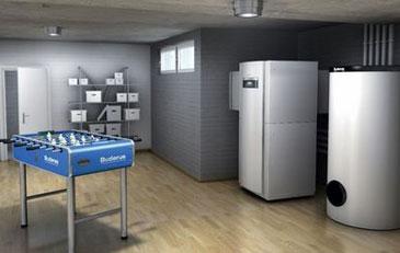 Bild: Luft-Wasser-Wärmepumpe Logatherm WPL IK/I mit Warmwasserspeicher