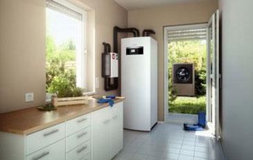 Bild: Einbausituation Luft-Wasser-Wärmepumpe Logatherm WPL AR