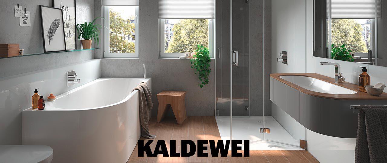 Kaldewei Logo auf einer Bad-Einbausituation