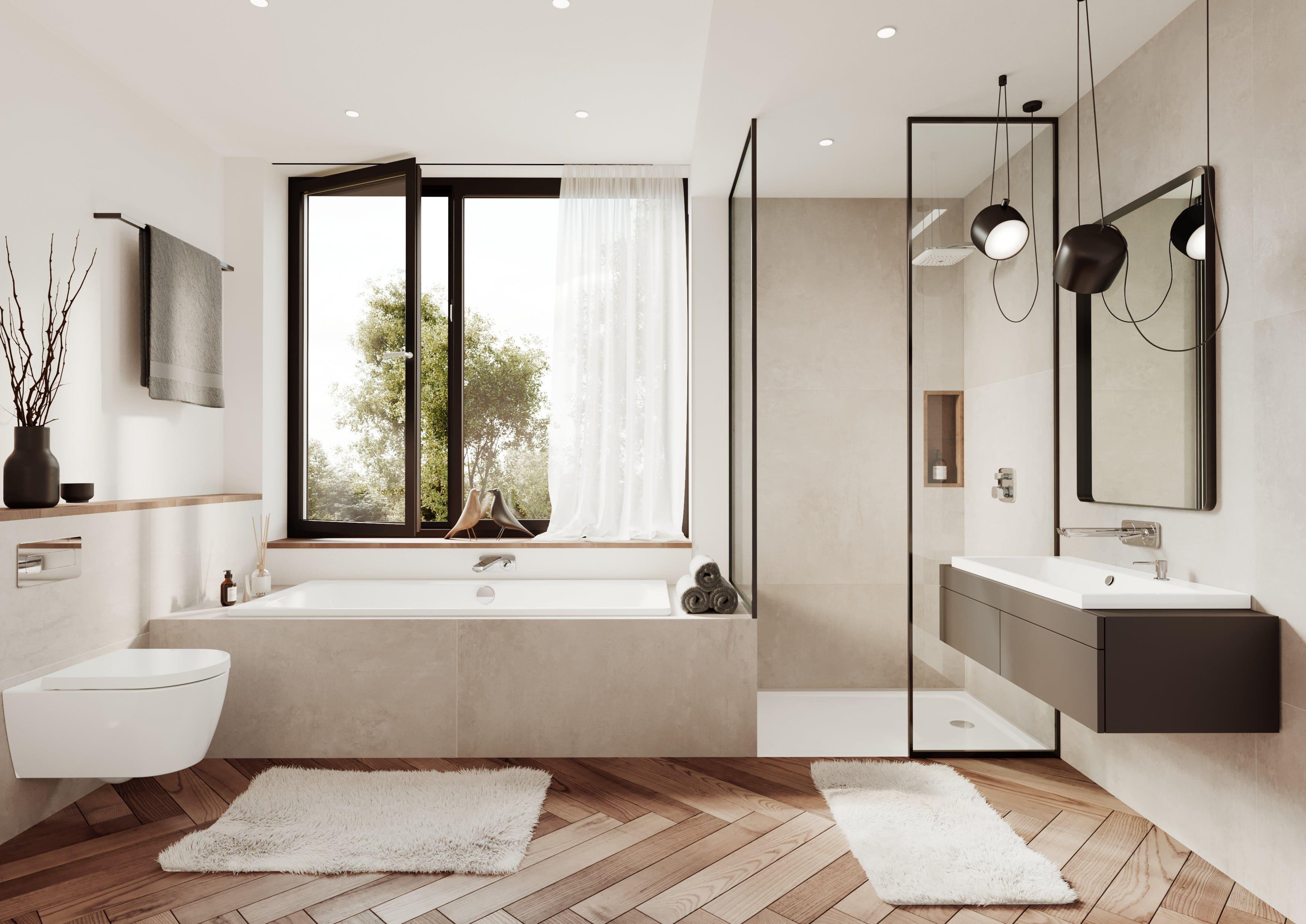 Kaldewei Einbausituation Badewanne und Waschtisch