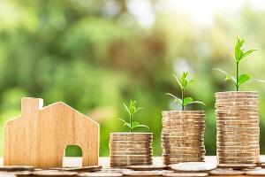 Modellhaus und gestapeltes Kleingeld, auf dem Pflanzen wachsen