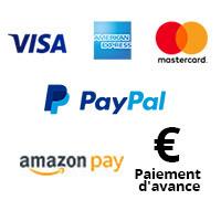 Logos des options de paiement PayPal, carte de crédit, achat sur compte et prélèvement SEPA