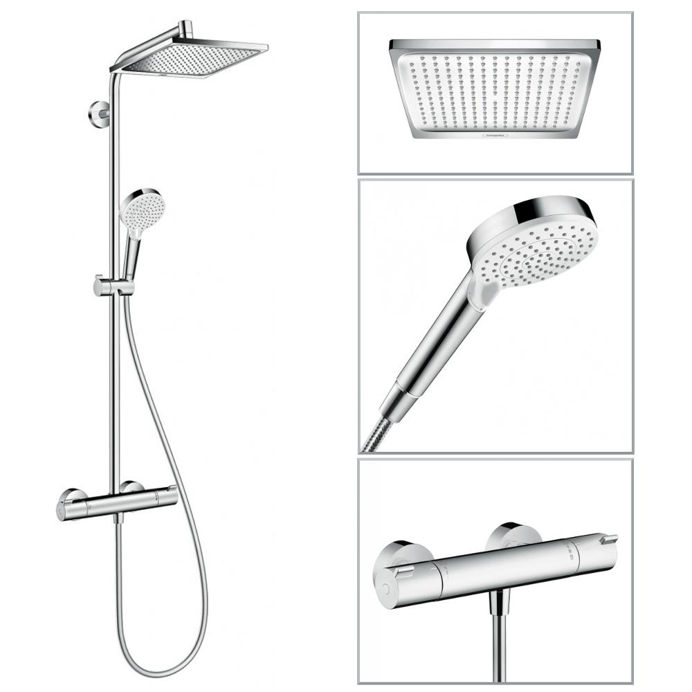hansgrohe colonne de douche showerpipe crometta e 240 mitigeur thermostatique 27271000 de. Black Bedroom Furniture Sets. Home Design Ideas