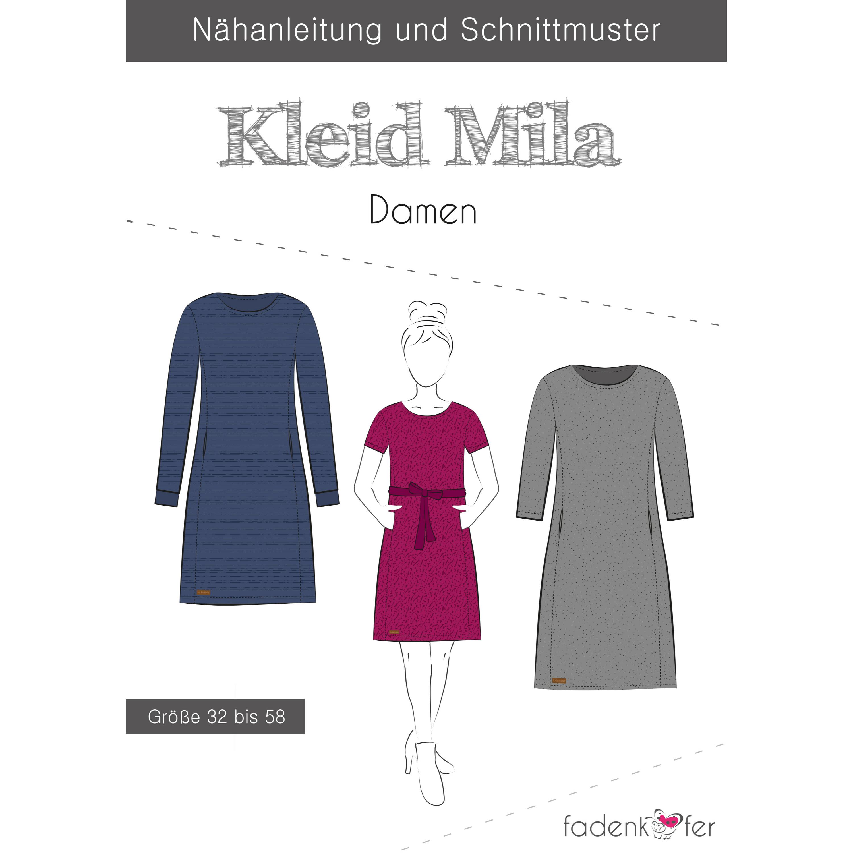 papierschnittmuster kleid mila damen gr. 32-56   sinahe stoffe