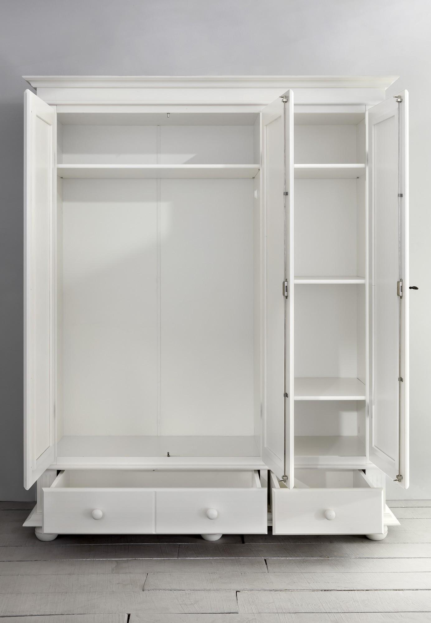 3 trg kleiderschrank freiburg spiegel massivholz weiss. Black Bedroom Furniture Sets. Home Design Ideas