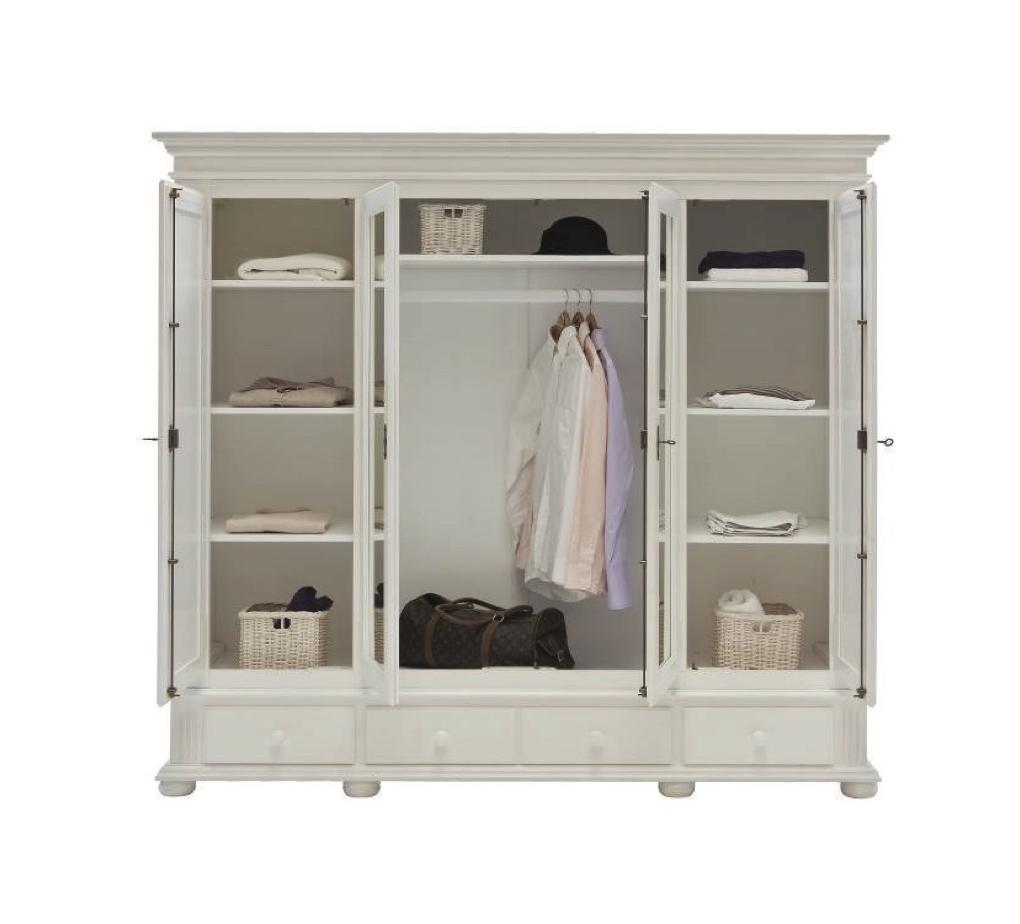 4-trg. Kleiderschrank FREIBURG + Spiegel Massivholz weiss