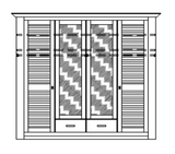 4-türig Massivholzschrank Dielenschrank LAGUNA weiss/antik Bild 4