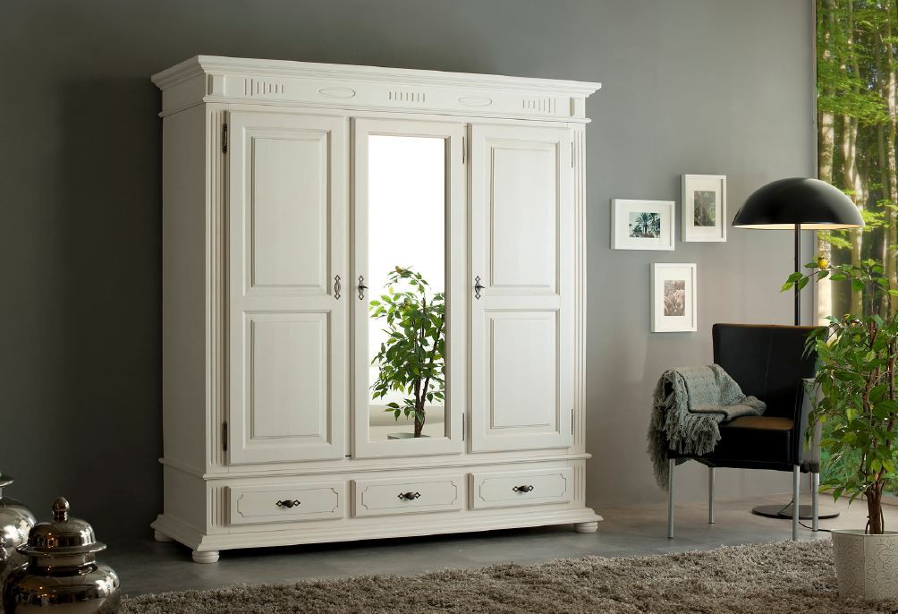 3 trg kleiderschrank naturo massivholz weiss. Black Bedroom Furniture Sets. Home Design Ideas