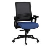 AMSTYLE Bürostuhl APOLLO A2 Stoffbezug Schreibtischstuhl Armlehne blau Chefsessel 120kg Drehstuhl Synchronmechanik XXL Bild 1