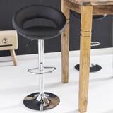 AMSTYLE Barhocker KRETA Hocker Bezug Kunstleder schwarz höhenverstellbar Design Barstuhl ohne Rückenlehne Chrom 110 kg Bild 3