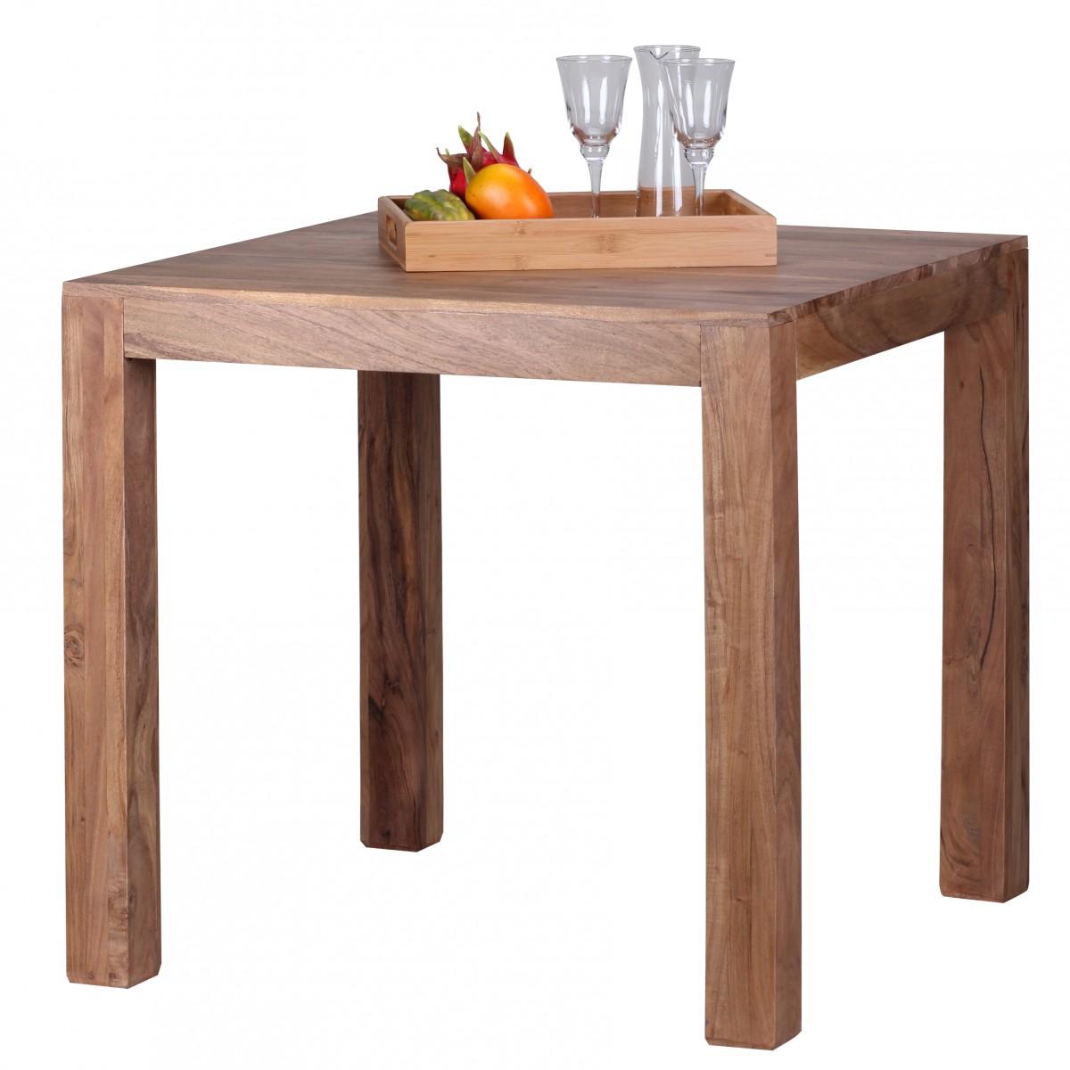 WOHNLING Esstisch MUMBAI Massivholz Akazie 80 Cm Esszimmer Tisch Holztisch  Design Küchentisch Landhaus Stil Dunkel Braun