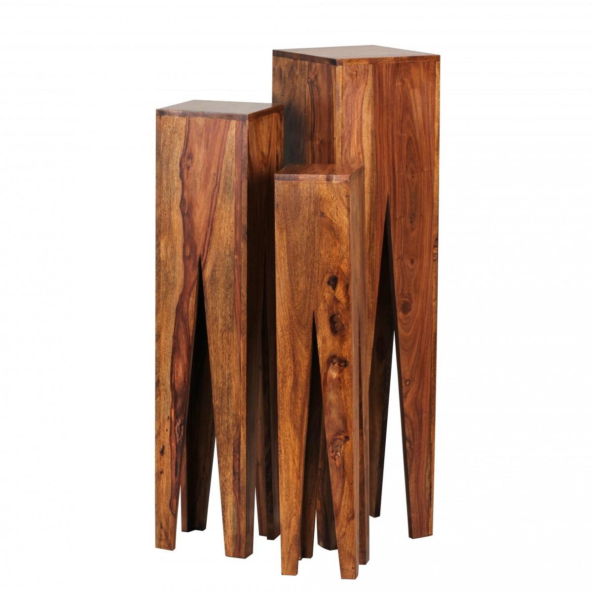 WOHNLING Beistelltisch 3er Set KADA Massivholz Sheesham Wohnzimmer Tisch  Design Säulen Landhausstil Couchtisch Quadratisch