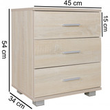 WOHNLING Nachtkonsole NINA Holz Nachttisch modern mit 3 Schubladen sonoma | Design Nachtkästchen 45 x 54 x 34 cm | Kleines Nachtschränkchen Bild 3