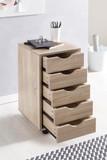 WOHNLING Rollcontainer MINA 33 x 68 x 38 cm MDF-Holz 5 Schubladen sonoma | Moderner Schubladencontainer mit Rollen | Standcontainer Bürocontainer Bild 4