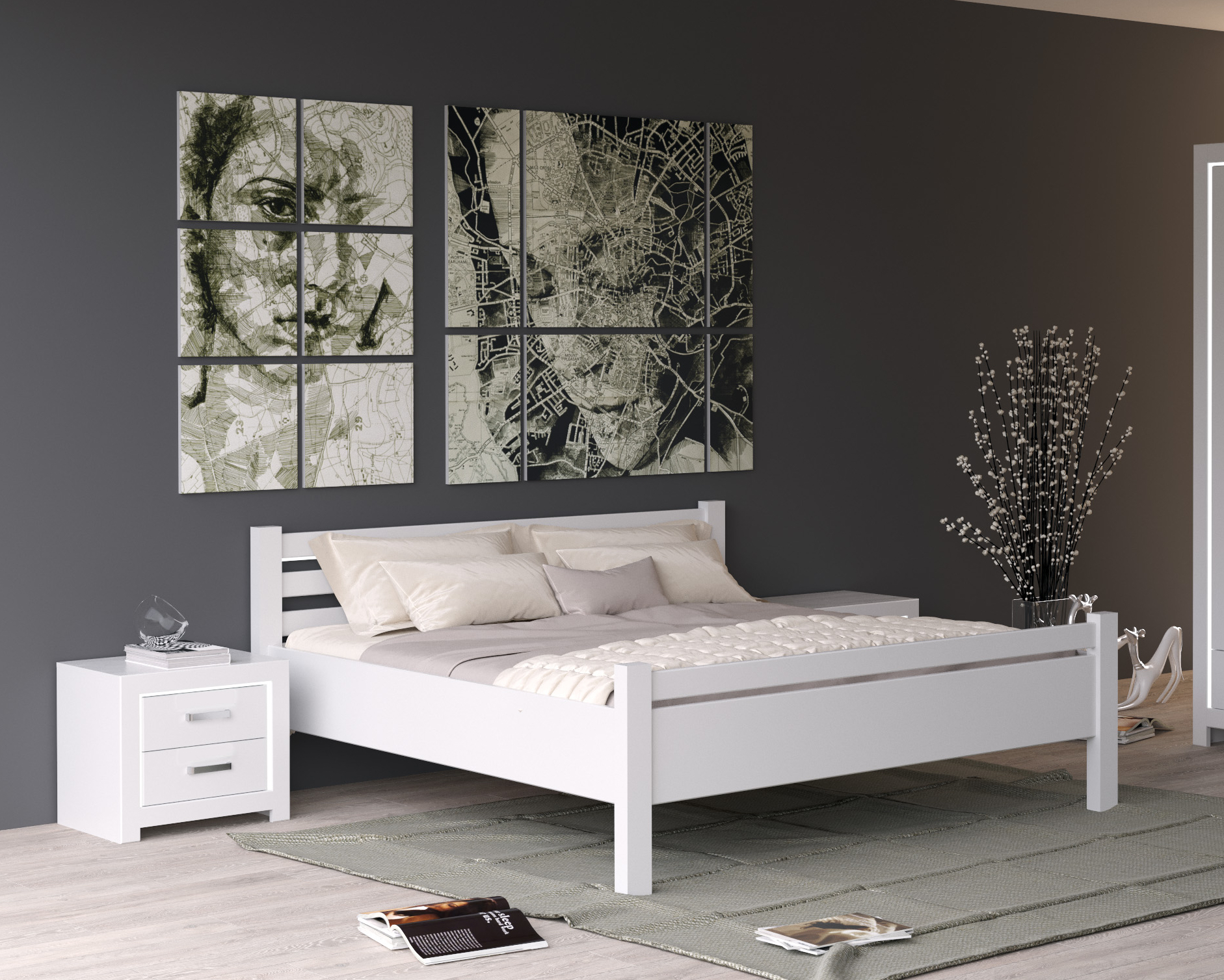 massivholzbett village 180x200 weiss. Black Bedroom Furniture Sets. Home Design Ideas