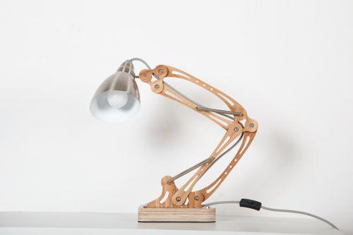 Schreibtischlampe Naturholz Tischlampe Modern Design Leseleuchte Holz Bild 2