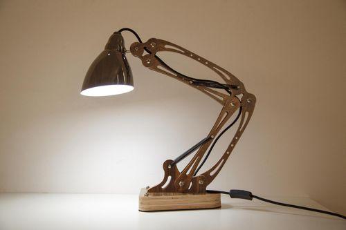 Schreibtischlampe Tischleuchte Modern Mechanic Optik Holz Design 002