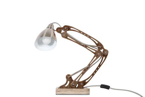 Schreibtischlampe Tischleuchte Modern Mechanic Optik Holz Design 001