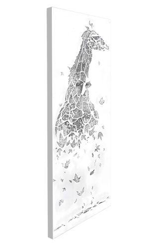 Öl Wandbild Giraffe Motiv Deko Wandbild Silber Ölfarbe Handarbeit 50 150 002