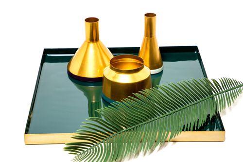 Dekoration Vase Töpfe Gold Deko Metallvase 3Er Set Wohnzimmer Petrol 002