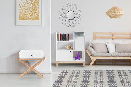 Nachttisch Schränkchen Klein Flach Schrank Scandi Skandinavisch Design Weiß Holz Bild 4