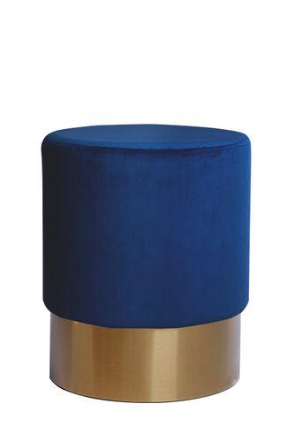 Samt Hocker Design Pouf Sitzhocker Polsterhocker Gold Blau Royalblau Königsblau 001