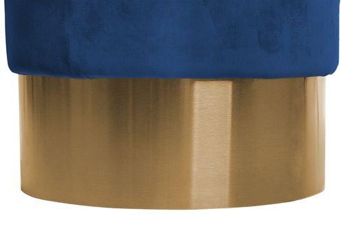 Samt Hocker Design Pouf Sitzhocker Polsterhocker Gold Blau Royalblau Königsblau 003